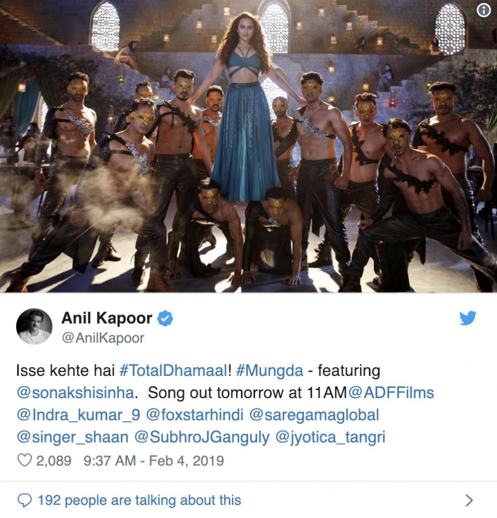 Total Dhamaal Tweet by Anil Kapoor