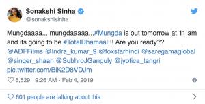 Total Dhamaal Tweet by Sonakshi Sinha