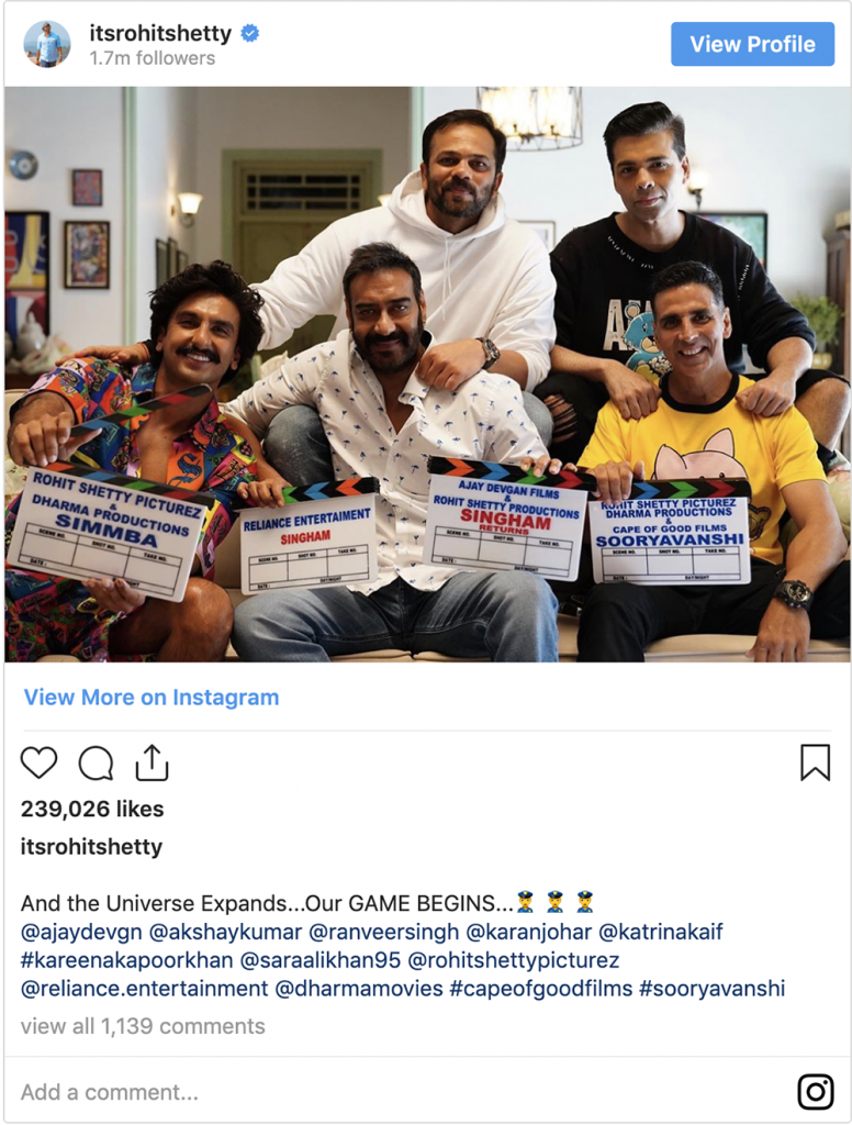 Rohit Shetty Instagram Post on Sooryavanshi