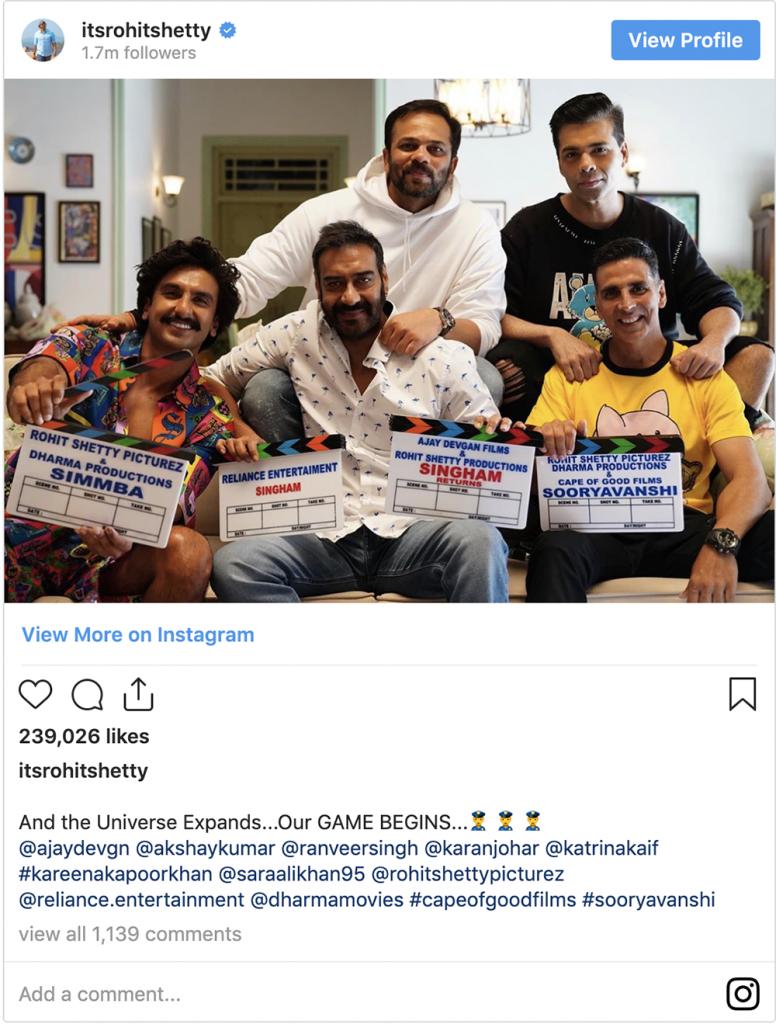Rohit Shetty Instagram Post on Sooryavanshi