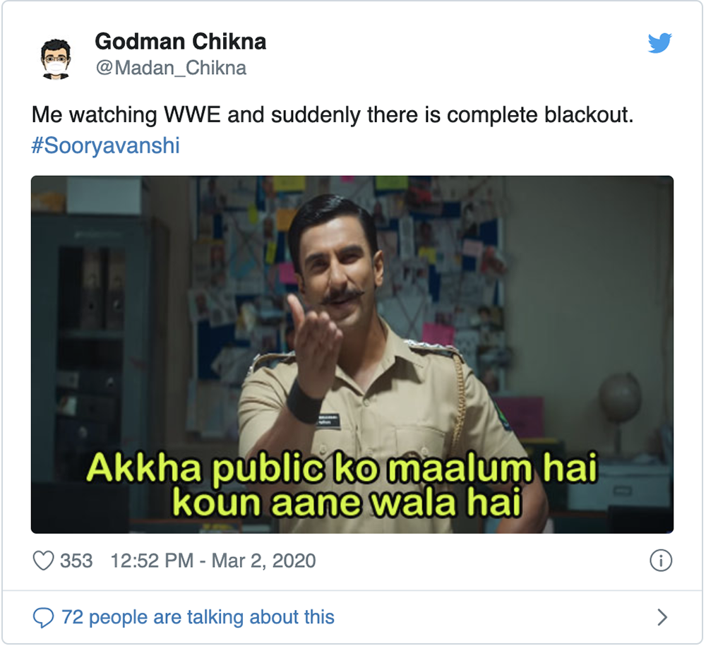 Tweet on Bollywood's Sooryavanshi