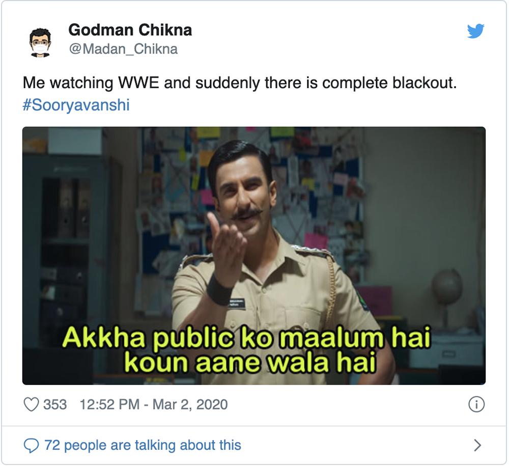 Tweet on Bollywood's Sooryavanshi