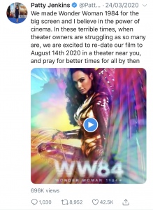 Twiiter Post by Patty Jenkins on New Release Date for Wonder Woman 1984