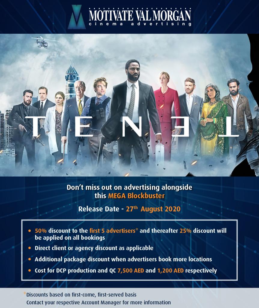 Cinema Advertising Offer for Tenet Blockbuster Release